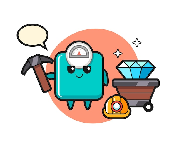 Character illustration of weight scale as a miner , cute style design for t shirt, sticker, logo element