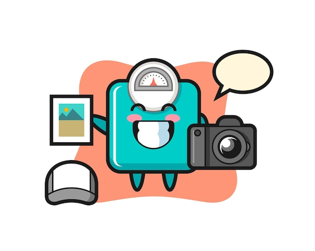 Character illustration of weight scale as a photographer , cute style design for t shirt, sticker, logo element