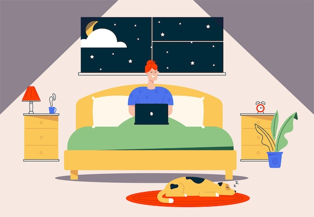 Character illustration of work at home. remote worker woman sitting in bed, working at laptop at night. home office interior , dog pet, comfy workplace. flexible working hours freelancer
