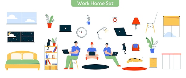 Character illustration of work at home. set of man, woman working at laptop. remote work, freelance. bundle of furniture home , table, chair, lamp, cat dog pet, decor and  objects