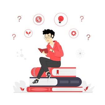 本を読んでいるキャラクターのイラスト Premiumベクター