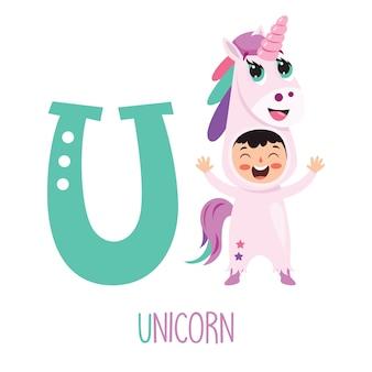 Персонаж в костюме животного, показаны буквы алфавита