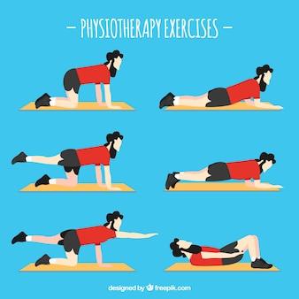 Характер в шести различных упражнениях по реабилитации
