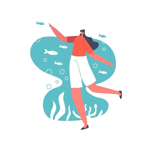 バーチャルグラスのキャラクターは、海のサンゴ礁と魚を観察します。 vrゴーグルでゲームをプレイする女性。未来のテクノロジー