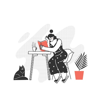 The character is reading a book. the girl is reading a book at the table. love to read modern writing.