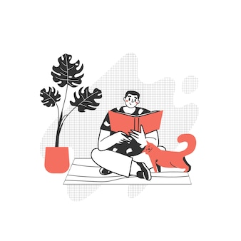 The character is reading a book. the guy with a passion for reading literature. love to read modern writing.