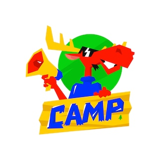 Character is a red moose with a megaphone and a sign camp.