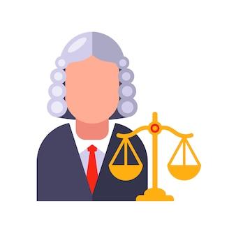 ガウンとウィッグのキャラクター裁判官が訴訟を決定します。フラットの図。