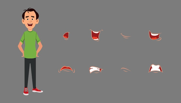 Character lip sync expression set. different emotions for custom animation