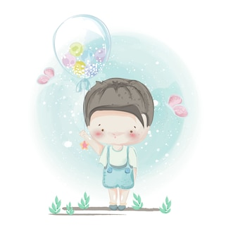Character in lovely girl and boy style.