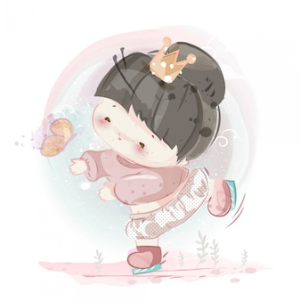 Character in lovely girl and boy watercolor  style.