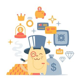 Персонаж кота богатого джентльмена в шляпе-цилиндре