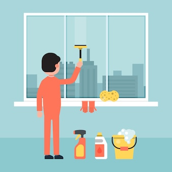 キャラクターの男性が建物の窓を掃除し、画面の街背景イラストを洗います。都市サービス要員建設。