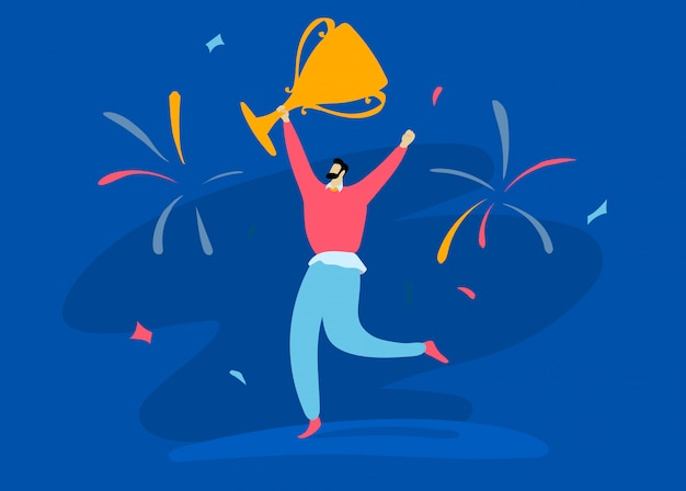Character male hand up hold winning cup salute  on blue, concept   illustration. successful person happy conquer work.