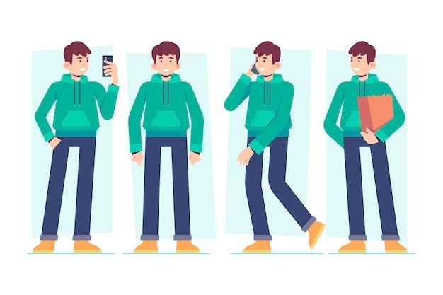 휴대 전화 및 쇼핑백 캐릭터 남성 포즈