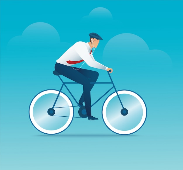 Character of man on bike or bicycle