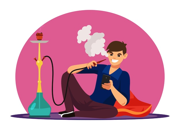 Персонаж человек курит кальян