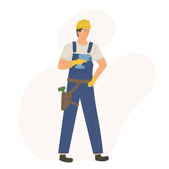 Character man worker employee construction
