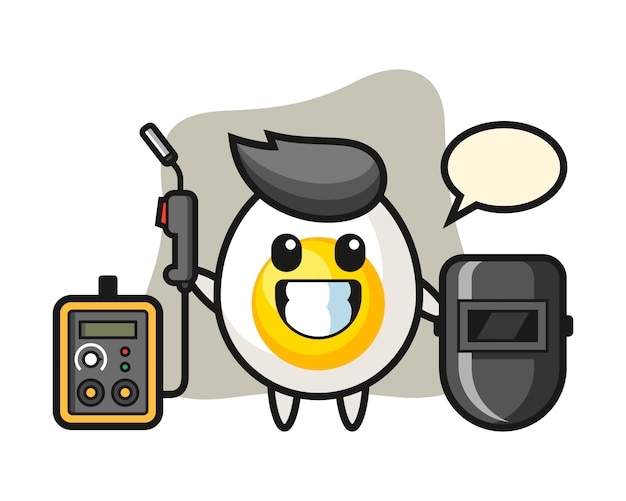 Character mascot of boiled egg as a welder