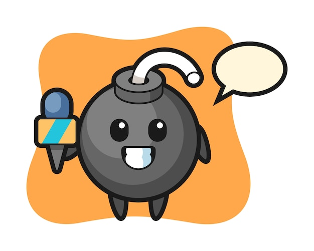 Character mascot of bomb as a news reporter
