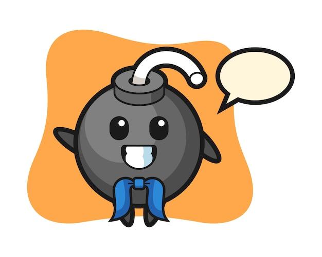 Character mascot of bomb as a sailor man