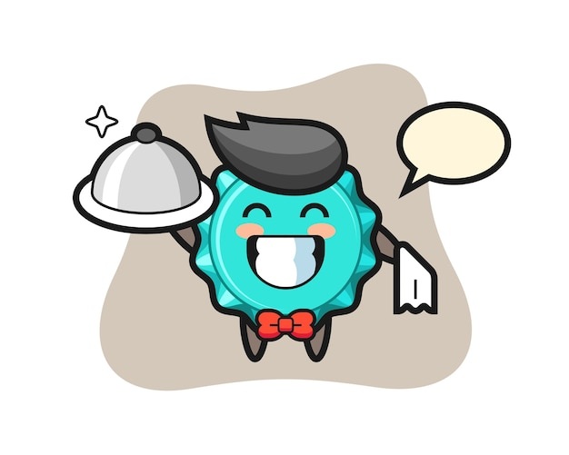 Character mascot of bottle cap as a waiters