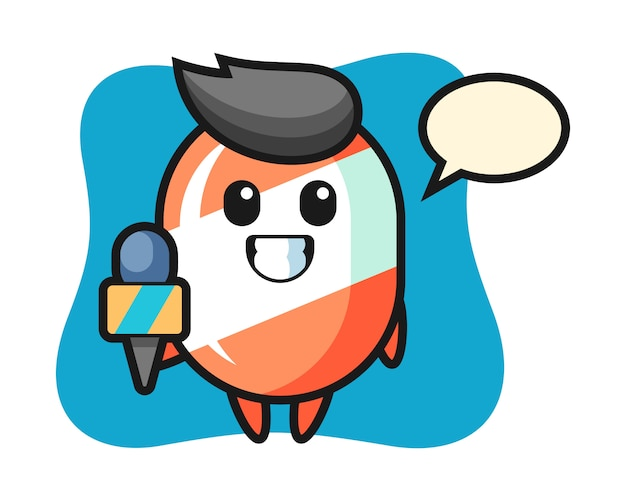 Character mascot of candy as a news reporter