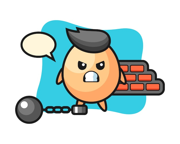 Character mascot of egg as a prisoner, cute style design for t shirt, sticker, logo element