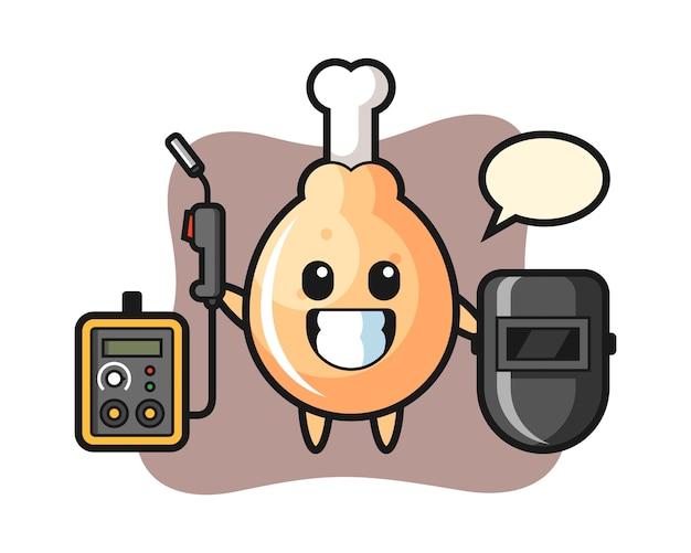 Character mascot of fried chicken as a welder