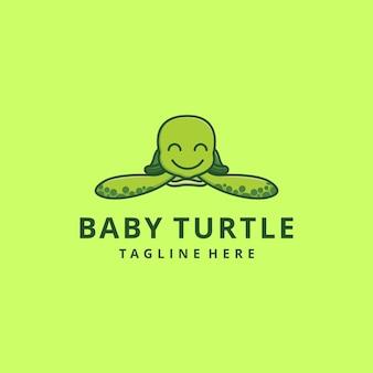 Character mascot green baby turtle cartoon logo