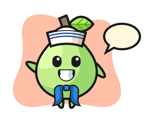 Character mascot of guava as a sailor man, cute style design for t shirt, sticker, logo element