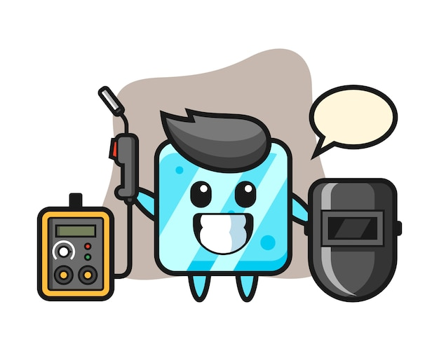 Character mascot of ice cube as a welder