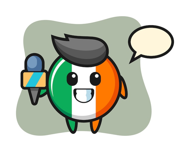 Character mascot of ireland flag badge as a news reporter