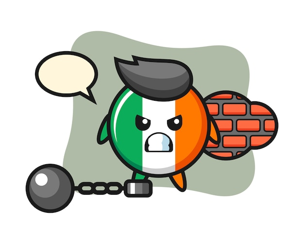 Character mascot of ireland flag badge as a prisoner