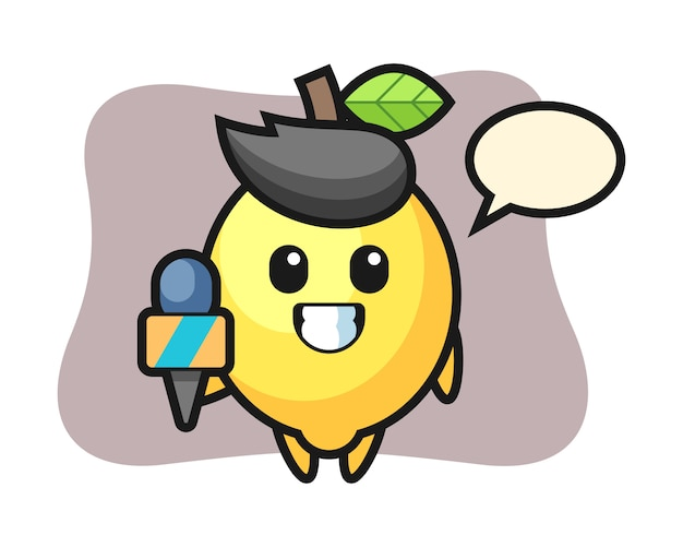 Character mascot of lemon as a news reporter