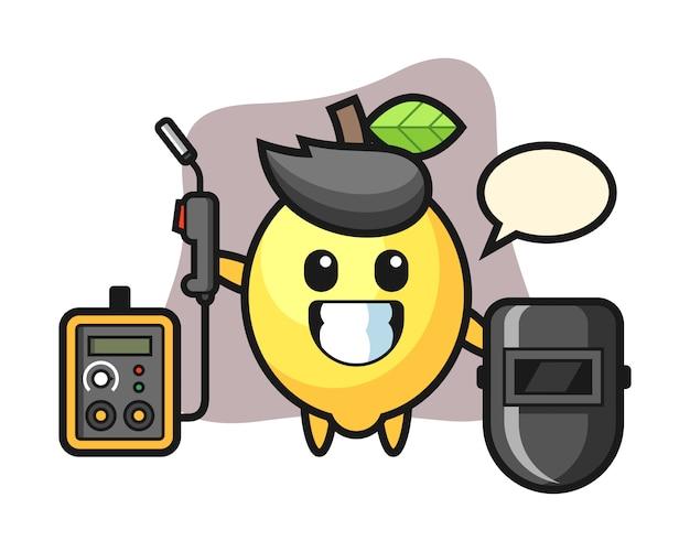 Character mascot of lemon as a welder