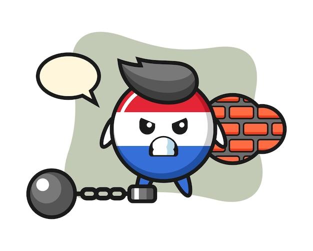 Character mascot of netherlands flag badge as a prisoner