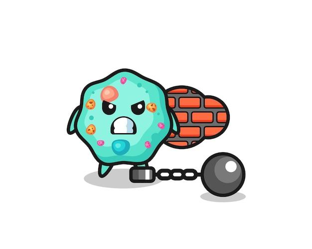囚人としてのアメーバのキャラクターマスコット、tシャツ、ステッカー、ロゴ要素のかわいいスタイルのデザイン