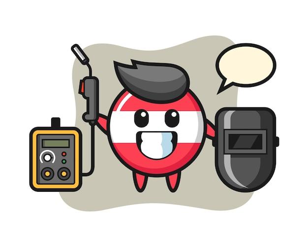용접기로 오스트리아 국기 배지의 캐릭터 마스코트