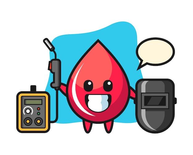 Персонаж-талисман капли крови как сварщик, милый стиль, наклейка, элемент логотипа