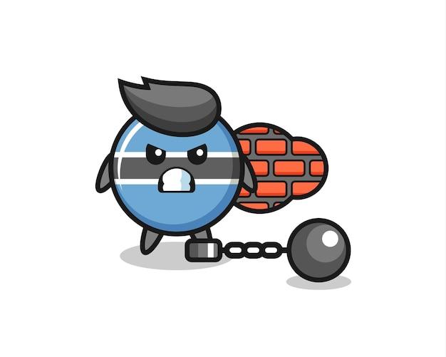 囚人としてのボツワナの国旗バッジのキャラクターマスコット、tシャツ、ステッカー、ロゴ要素のかわいいスタイルのデザイン