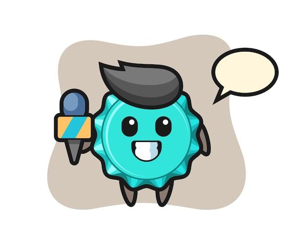 Персонаж-талисман бутылочной крышки в качестве репортера новостей