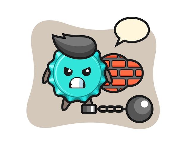 囚人としてのボトルキャップのキャラクターマスコット