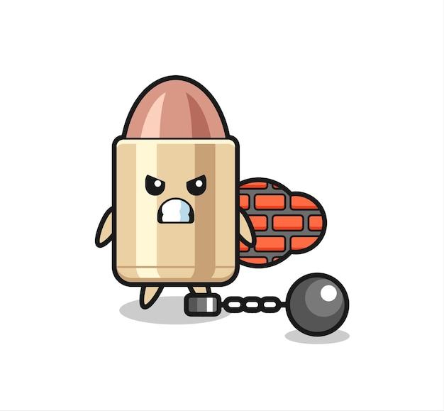 囚人としての弾丸のキャラクターマスコット、tシャツ、ステッカー、ロゴ要素のかわいいスタイルのデザイン