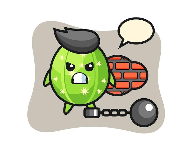 囚人としてのサボテンのキャラクターマスコット