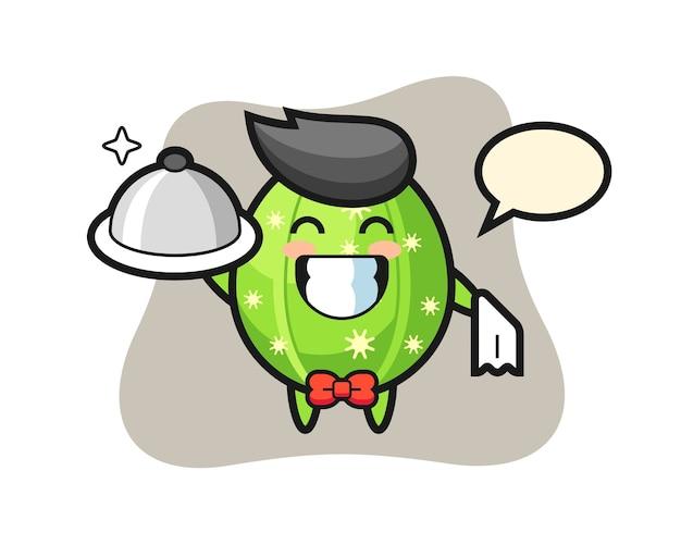 Персонаж талисман кактуса в качестве официантов