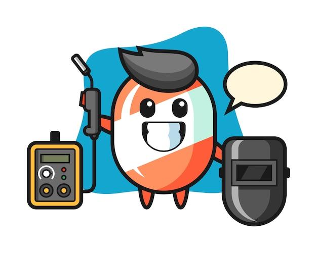 용접기로서 사탕의 캐릭터 마스코트