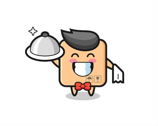웨이터로서의 판지 상자의 캐릭터 마스코트, 티셔츠, 스티커, 로고 요소를 위한 귀여운 스타일 디자인