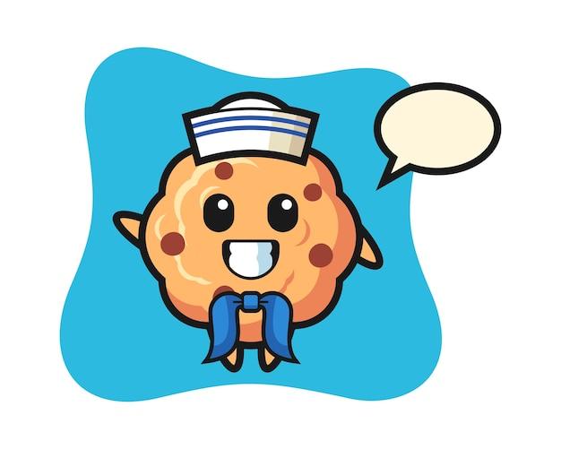 セーラーマンとしてのチョコレートチップクッキーのキャラクターマスコット