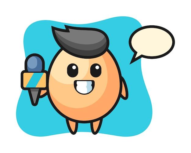 ニュースレポーター、tシャツ、ステッカー、ロゴ要素のかわいいスタイルデザインとしての卵のキャラクターマスコット